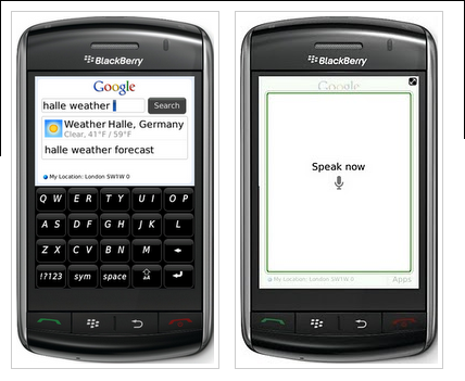 black berry storm google apps
