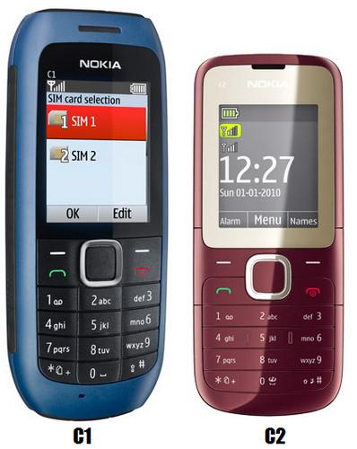 Nokia dual sim c1 e c2
